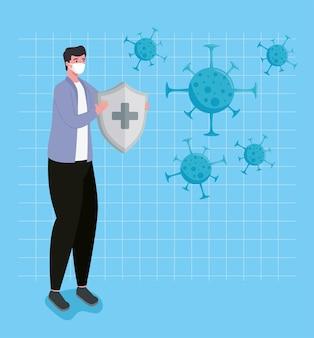 Mężczyzna ubrany w maskę medyczną podnoszący tarczę i ilustracja układu odpornościowego cząstek