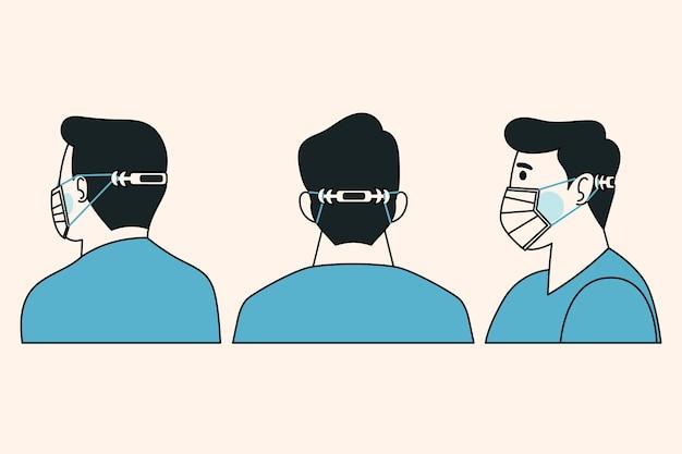 Mężczyzna ubrany w regulowany pasek maski medycznej