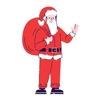 Mężczyzna ubrany w zestaw kostiumów świętego mikołaja. kreskówka z elementami konspektu. świąteczny strój x-mas. maskarada obchodów nowego roku