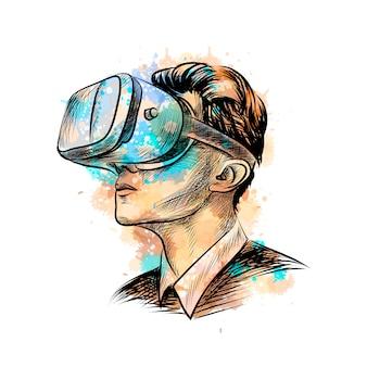 Mężczyzna ubrany w zestaw słuchawkowy wirtualnej rzeczywistości z odrobiną akwareli, ręcznie rysowane szkic