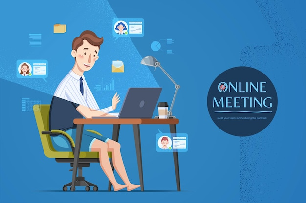 Mężczyzna uczestniczący w spotkaniu online
