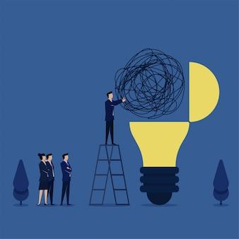 Mężczyzna umieścił splątany sznurek na lampie jako metafora rozwiązania problemu i pomysłu. biznes ilustracja koncepcja płaski.