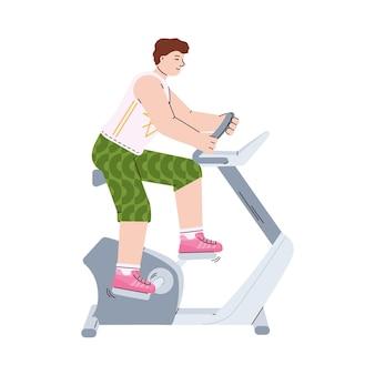 Mężczyzna uprawia trening sportowy na maszynie rowerowej kreskówka wektor ilustracja na białym tle