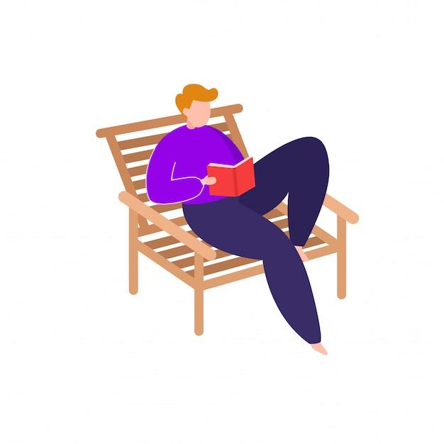 Mężczyzna usiąść na krześle i czytać książkę