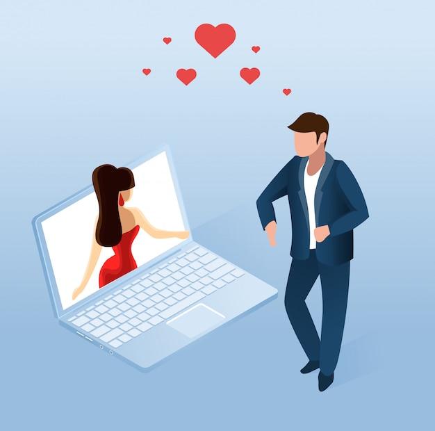 Mężczyzna używa aplikacji randkowej online na notebooku