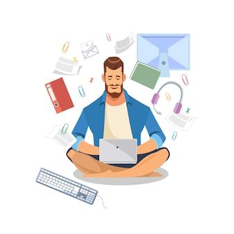 Mężczyzna używa laptop dla pracy lub uczenie wektoru