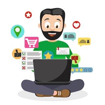 Mężczyzna używa laptopa i latają wokół niego ikony związane z komputerem na białym tle.