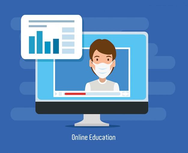 Mężczyzna używa twarzy maskę studiuje online w komputerze stacjonarnym