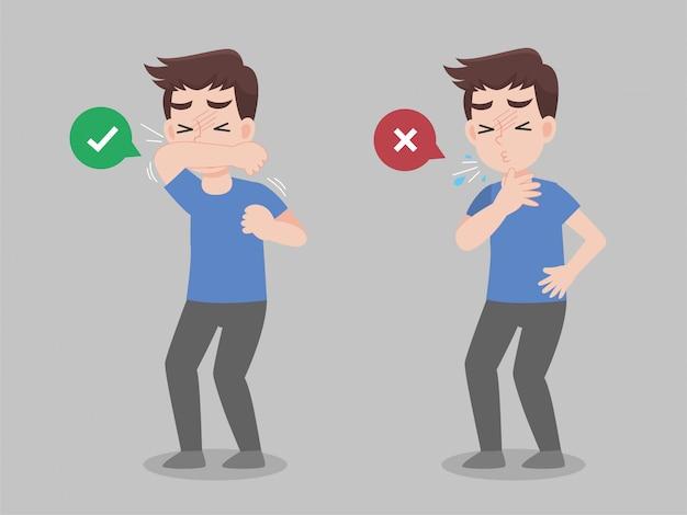 Mężczyzna używaj kciuka do ust przed kichnięciem i nie rób tego