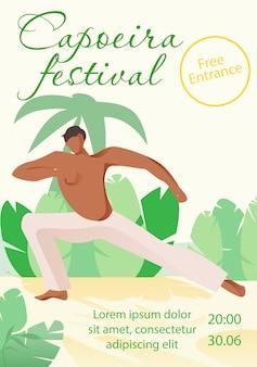 Mężczyzna w białych spodniach robi capoeira na plaży.