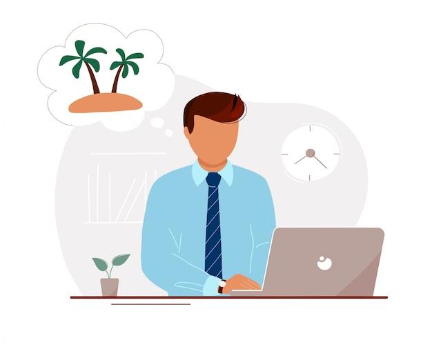 Mężczyzna w biurze marzy o wakacjach