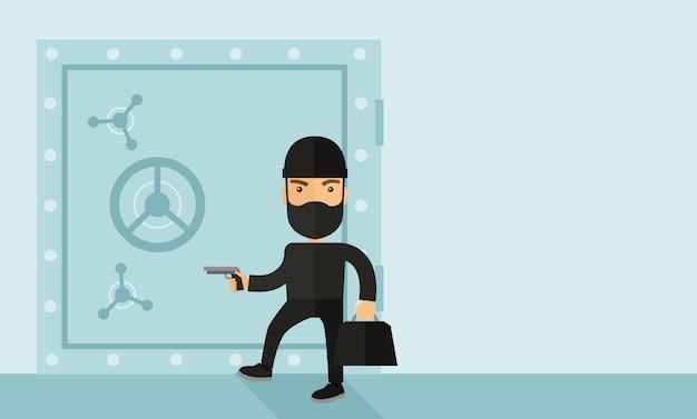 Mężczyzna w czarnym sejfie hakerskim banku.