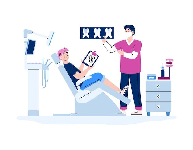 Mężczyzna w gabinecie stomatologicznym otrzymuje ilustrację konsultacji