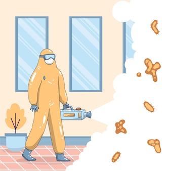 Mężczyzna w garniturze hazmat czyszczącym dom z bakterii