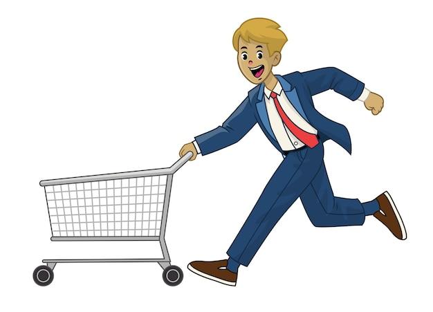 Mężczyzna w garniturze pchający wózek na zakupy