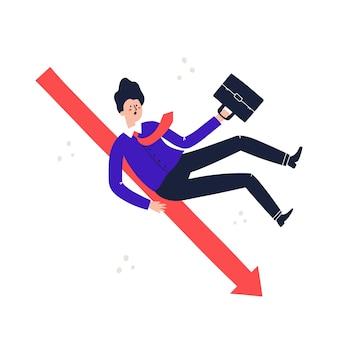 Mężczyzna w garniturze stacza się. zwolnienie, praca, strata, koncepcja utraty zysku. ręcznie rysowane ilustracji wektorowych.