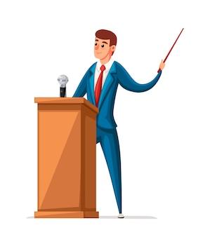 Mężczyzna w garniturze stoi przy drewnianej trybunie z mikrofonem. wygłaszanie przemówienia. postać . ilustracja na białym tle.