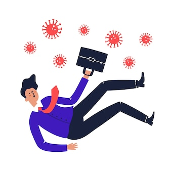 Mężczyzna w garniturze upada. utrata pracy spowodowana koncepcją koronawirusa. ręcznie rysowane ilustracji wektorowych