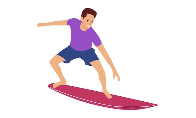 Mężczyzna w krótkich spodenkach z deską surfingową