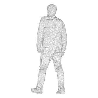 Mężczyzna w kurtce gdzieś idzie. gatunki z różnych stron. ilustracja wektorowa czarnej trójkątnej siatki na białym tle