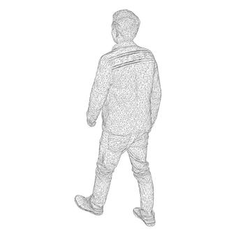 Mężczyzna w kurtce gdzieś idzie. gatunki z różnych stron. ilustracja wektorowa czarnej trójkątnej siatki na białym tle.