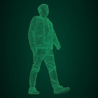 Mężczyzna w kurtce gdzieś idzie. gatunki z różnych stron. ilustracja wektorowa zielonego neonu świecącego trójkątnej siatki na czarno-zielonym tle.
