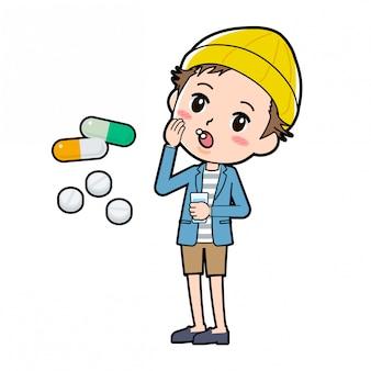 Mężczyzna w kurtce i krótkich spodniach zażywający tabletki