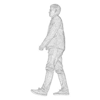 Mężczyzna w kurtce spaceru z czarną trójkątną siatką na białym tle.