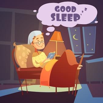 Mężczyzna w łóżku przy nocą z książkową ilustracją