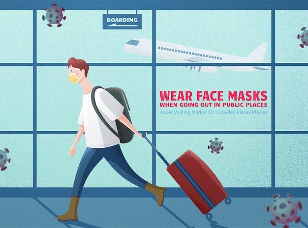 Mężczyzna w masce na lotnisku