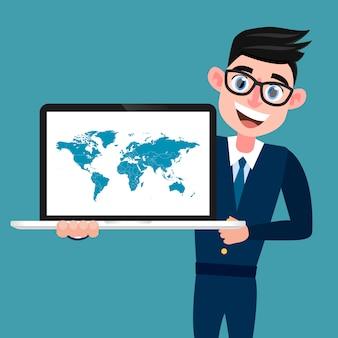 Mężczyzna w niebieskim garniturze z komputerem i mapą świata na ekranie.