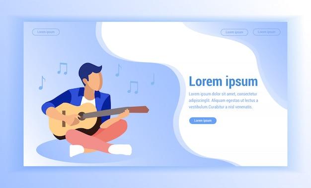 Mężczyzna w obsiadaniu na podłoga lotus pozuje bawić się gitarę.