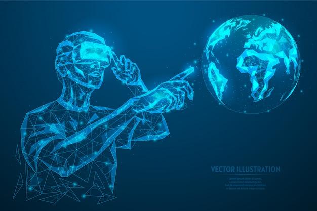 Mężczyzna w okularach, kask dodatkowa mapa wirtualnej rzeczywistości. internetowa diagnostyka, badanie, formowanie planet. innowacyjna technologia rozrywki w grach. 3d model szkieletowy low poly ilustracja.