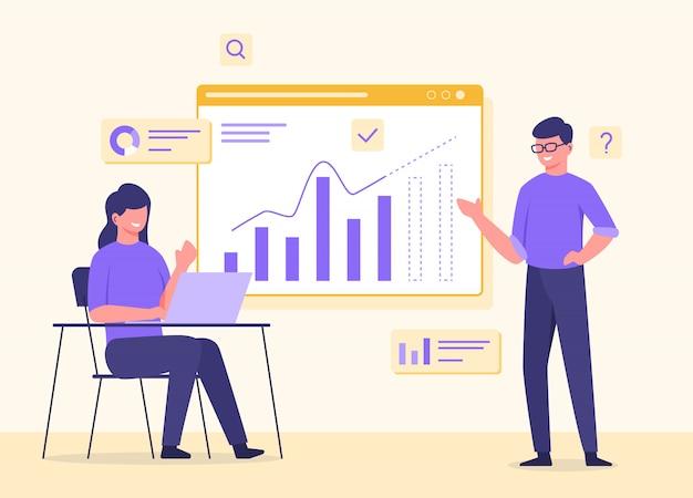 Mężczyzna w okularach stojąca kobieta siedząca krzesło praca na laptopie współpraca analizuje dane wykresu na ekranie w stylu płaskiej kreskówki.