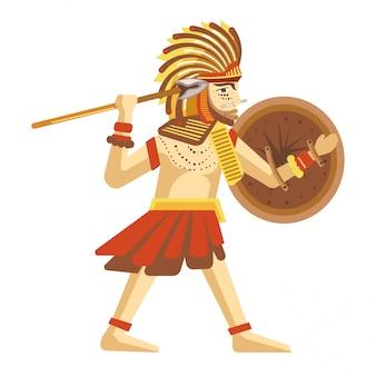 Mężczyzna w piórkowym kapeluszu z okrągłą tarczą i długą włócznią