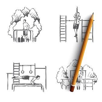 Mężczyzna w polu lekkoatletycznym robi ćwiczenia i ciągnie się na ilustracji liny