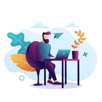 Mężczyzna w pracy. praca przy laptopie. płaski kolorowy styl. fioletowe tło, szablon strony workplace.web. ilustracji wektorowych