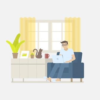 Mężczyzna w przypadkowej odzieży pracuje w domu z laptopem na karle w żywym pokoju