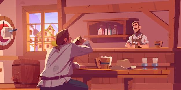 Mężczyzna w retro kowbojskim salonie piwnym na dzikim zachodzie