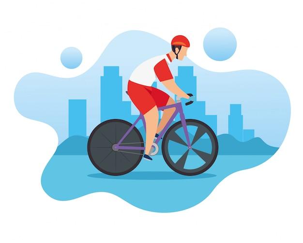 Mężczyzna w rowerze w wyścigach o mistrzostwo