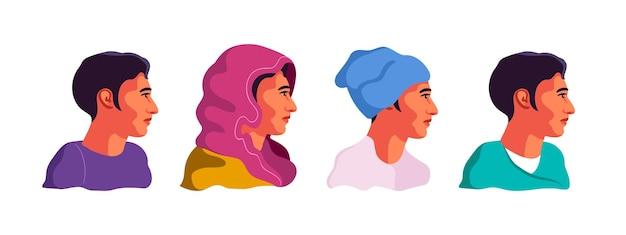 Mężczyzna w różnych zestawach ubrań. kolorowe ilustracje ludzi. profile twarzy. głowa na białym tle.