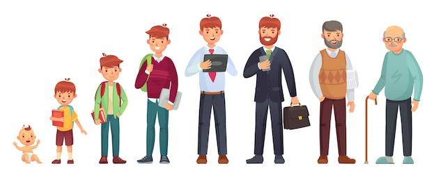Mężczyzna w różnym wieku. noworodek, wiek nastoletniego chłopca i studenta, dorosły mężczyzna i starszy senior. ilustracja pokoleń ludzi