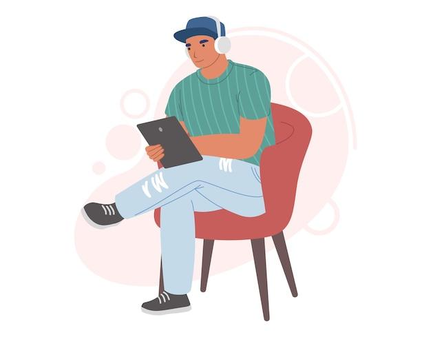 Mężczyzna w słuchawkach słucha muzyki, radia internetowego lub podcastu na ilustracji komputera typu tablet computer