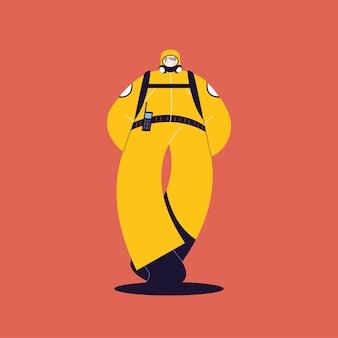 Mężczyzna w stroju ochronnym, odzież ochronna