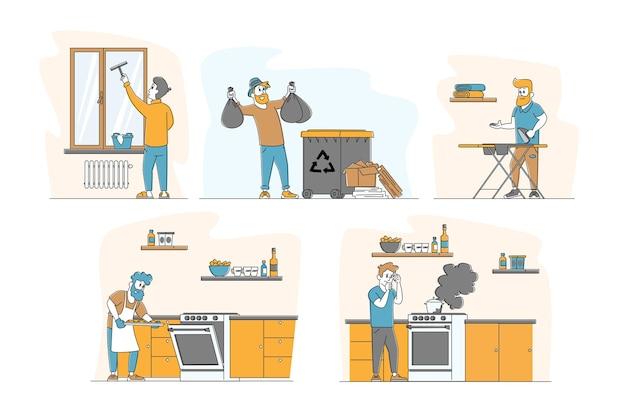 Mężczyzna w zestawie czynności domowych
