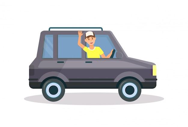 Mężczyzna w żółtej koszulce i czapce jazdy czarnym samochodem
