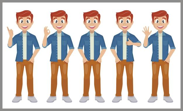 Mężczyzna w zwykłych ubraniach stojący w różnych pozach