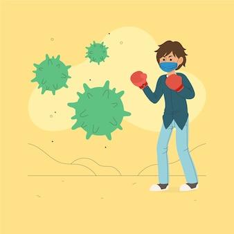 Mężczyzna walczący wirus z bokserskimi rękawiczkami
