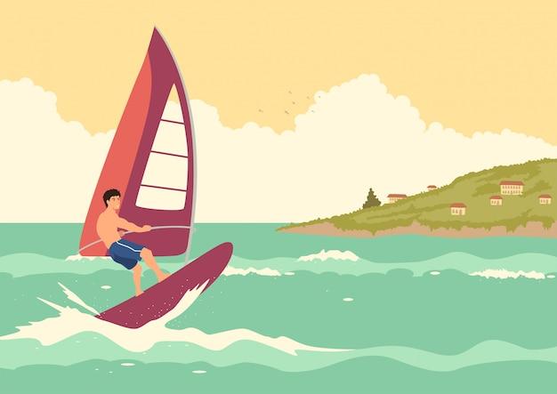 Mężczyzna windsurfing