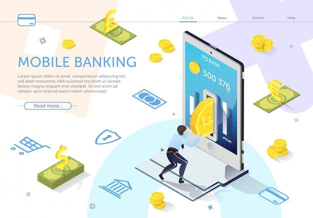 Mężczyzna wkłada monetę do bankomatu hole. wektor bankowości mobilnej